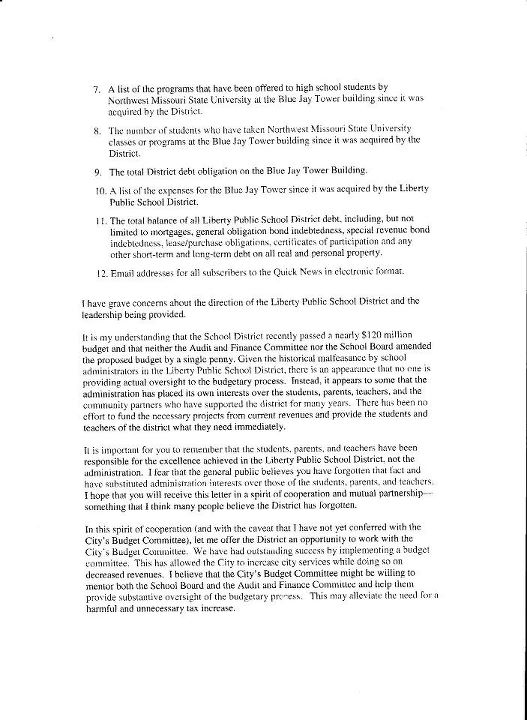 Is This For Real?: Letter From Liberty Mayor to School Superintendent Dated Sept. 6, 2011 (3/4)