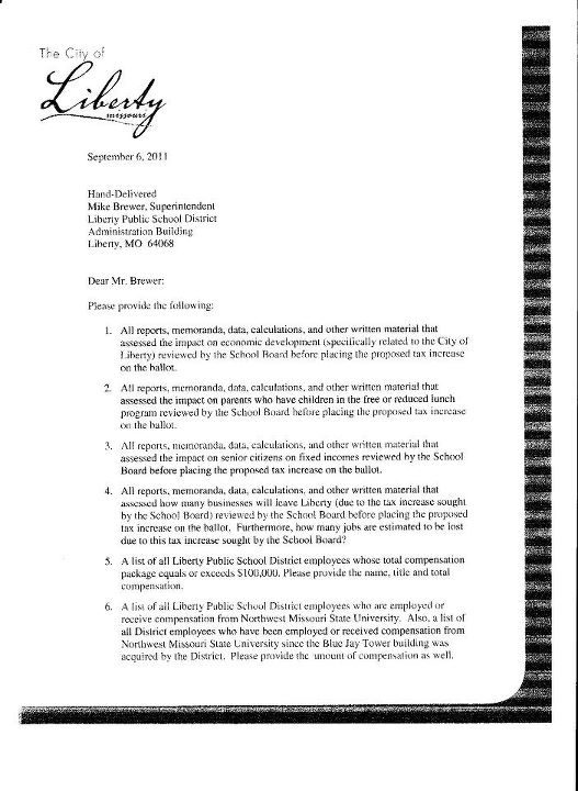 Is This For Real?: Letter From Liberty Mayor to School Superintendent Dated Sept. 6, 2011 (2/4)