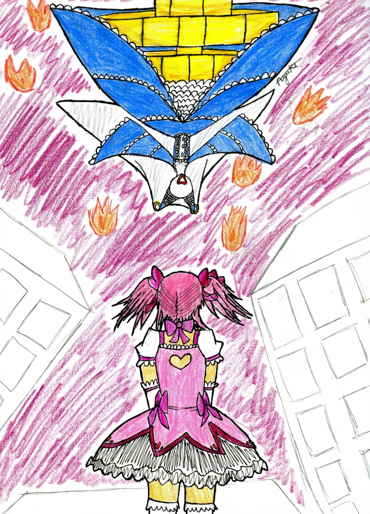 Magical girl Madoka Kaname faces off against the evil witch named Walpurgisnacht. Art Credit: AyukiUtau on Deviant Art