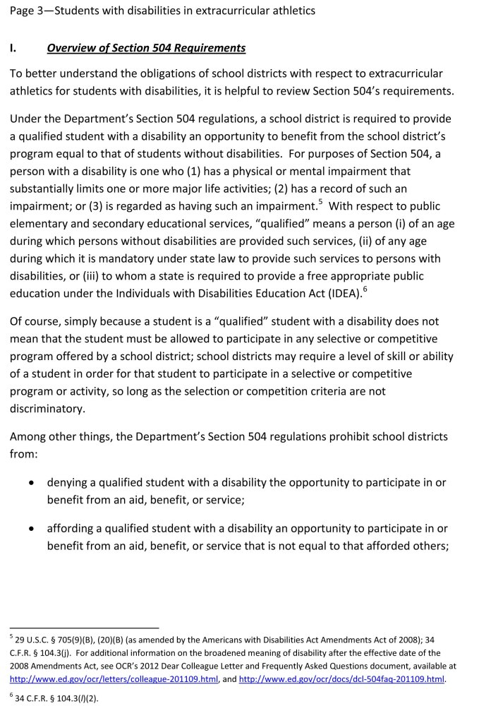 Disabled Students Must Be Allowed to Participate in Public School Sports  (4/6)