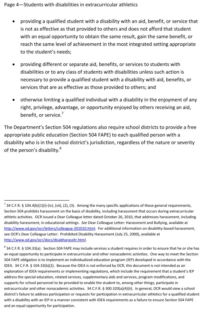 Disabled Students Must Be Allowed to Participate in Public School Sports  (5/6)