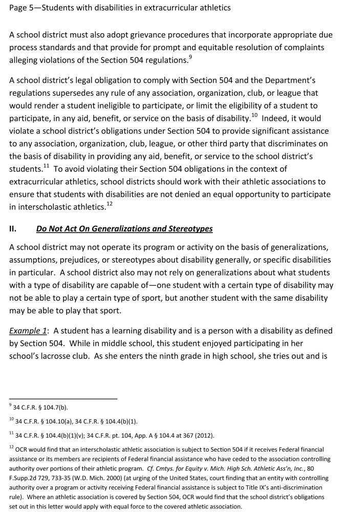 Disabled Students Must Be Allowed to Participate in Public School Sports  (6/6)
