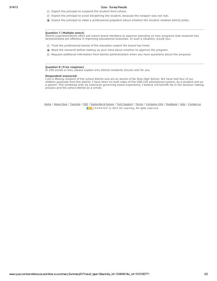 Calvin Hayden De Soto Quia - Survey Results-2