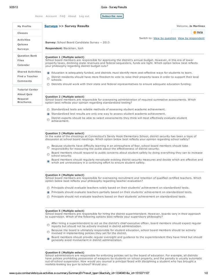 Josh Blackman Quia - Survey Results-1