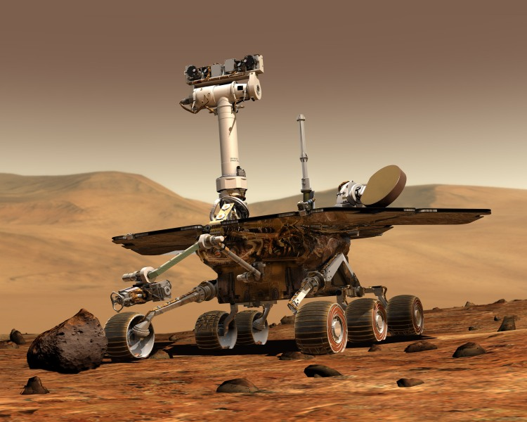 Artist's rendering of a Mars Exploration Rover. Illustration Credit: Image by Maas  Digital LLC for Cornell University and NASA/JPL. Compatible 3D conversion by www.anachrome.com in the public interest. No copyright applied. Accessed 14 May 2013 from Wikimedia Commons, https://en.wikipedia.org/wiki/File:NASA_Mars_Rover.jpg